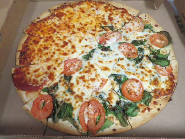 1/2 pizza for friend's b-day at Crystal Lanes on Friday, February 14th 2014Tuscan Romahttp://www.pizzaranch.com/fooditems/C8Best on our thin crust. Roma Tomatoes, Spinach and Zesty Alfredo Sauce  *great for vegetarians!
