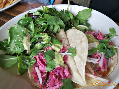 Talapia (fish) Taco http://www.frenchmeadowcafe.com/documents/FMB_GRAND_Brunch.pdfDuring Grand Old Days (Sunday, June 1st 2014) with family at French  Meadow on Grand Avenue (St. Paul, Minnesota) that my brother's wife (Khua) ordered.