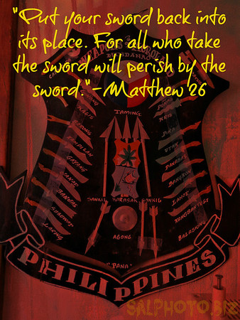 "Matthew 26:52 Then Jesus said to him, ""Put your sword back into its place. For all who take the sword will perish by the sword. http://www.openbible.info/topics/swordsLive by the Sword - Die by the Sword http://youtu.be/Q2qFam6zP7MGood News Sociologyhttps://www.facebook.com/groups/139706352858524/?ref=br_tfThe Gospel of Matthew - [23/26] http://youtu.be/ojD7sg11i-g?t=9m27sstart @9:27 more...https://www.facebook.com/photo.php?fbid=10152157682067550&set=oa.300672596749115&type=3&theater"